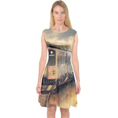 Manipulation Ghost Train Painting Capsleeve Midi Dress by AnjaniArt