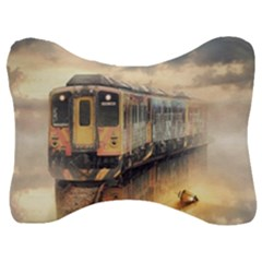 Manipulation Ghost Train Painting Velour Seat Head Rest Cushion by AnjaniArt