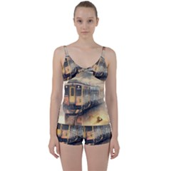Manipulation Ghost Train Painting Tie Front Two Piece Tankini by AnjaniArt