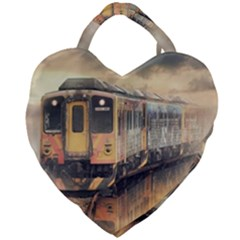 Manipulation Ghost Train Painting Giant Heart Shaped Tote by AnjaniArt