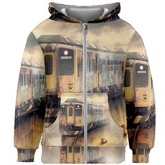 Manipulation Ghost Train Painting Kids Zipper Hoodie Without Drawstring