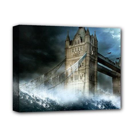 Manipulated Lodon Bridge Water Waves Deluxe Canvas 14  X 11  (stretched) by AnjaniArt