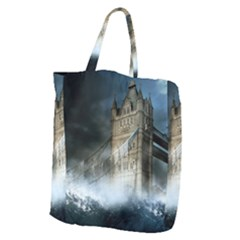 Manipulated Lodon Bridge Water Waves Giant Grocery Tote by AnjaniArt