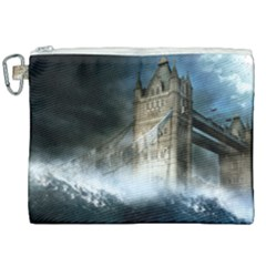 Manipulated Lodon Bridge Water Waves Canvas Cosmetic Bag (xxl) by AnjaniArt