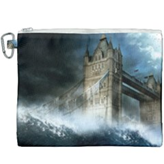 Manipulated Lodon Bridge Water Waves Canvas Cosmetic Bag (xxxl) by AnjaniArt