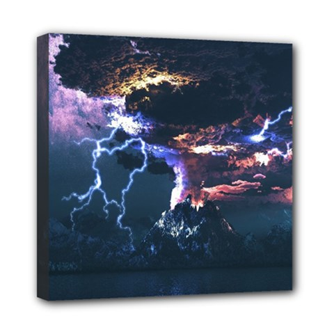 Lightning Volcano Manipulation Volcanic Eruption Mini Canvas 8  X 8  (stretched) by AnjaniArt