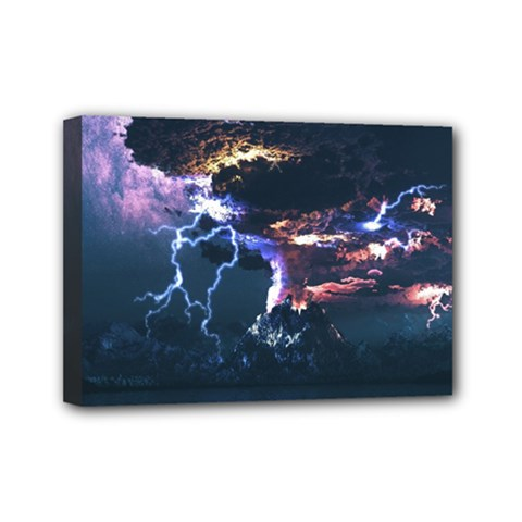 Lightning Volcano Manipulation Volcanic Eruption Mini Canvas 7  X 5  (stretched) by AnjaniArt