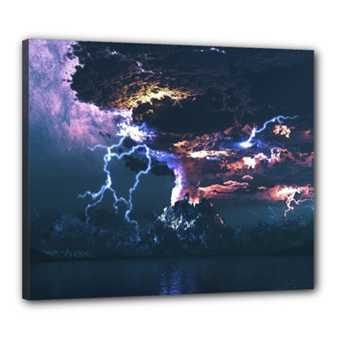 Lightning Volcano Manipulation Volcanic Eruption Canvas 24  X 20  (stretched) by AnjaniArt