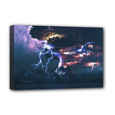 Lightning Volcano Manipulation Volcanic Eruption Deluxe Canvas 18  X 12  (stretched) by AnjaniArt