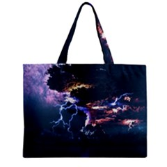 Lightning Volcano Manipulation Volcanic Eruption Zipper Mini Tote Bag by AnjaniArt