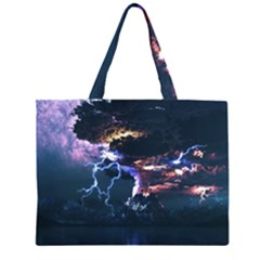 Lightning Volcano Manipulation Volcanic Eruption Zipper Large Tote Bag by AnjaniArt