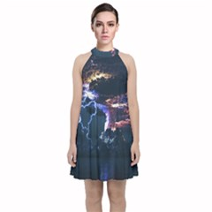 Lightning Volcano Manipulation Volcanic Eruption Velvet Halter Neckline Dress