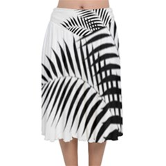 Palm Leaves Velvet Flared Midi Skirt