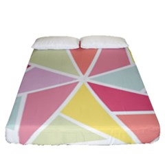 Star Triangle Rainbow Geometric Line Fitted Sheet (queen Size) by AnjaniArt