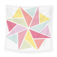Star Triangle Rainbow Geometric Line Square Tapestry (large) by AnjaniArt