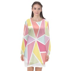 Star Triangle Rainbow Geometric Line Long Sleeve Chiffon Shift Dress