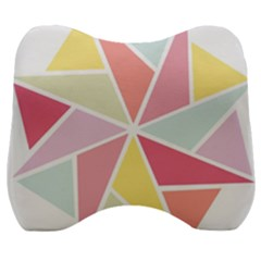 Star Triangle Rainbow Geometric Line Velour Head Support Cushion by AnjaniArt