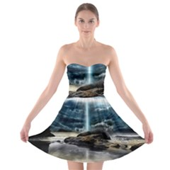 Space Galaxy Hole Strapless Bra Top Dress