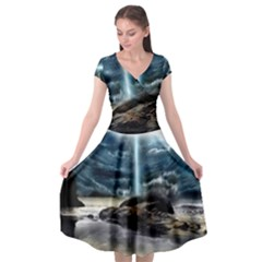 Space Galaxy Hole Cap Sleeve Wrap Front Dress