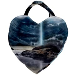 Space Galaxy Hole Giant Heart Shaped Tote by AnjaniArt