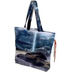 Space Galaxy Hole Drawstring Tote Bag by AnjaniArt