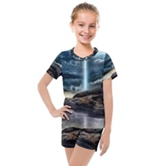 Space Galaxy Hole Kids  Mesh Tee And Shorts Set