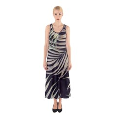 Palm Leaves Painting Grey Sleeveless Maxi Dress
