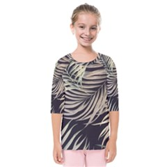Palm Leaves Painting Grey Kids  Quarter Sleeve Raglan Tee
