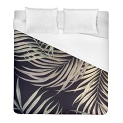 Palm Leaves Painting Grey Duvet Cover (full/ Double Size)