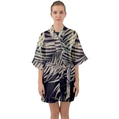Palm Leaves Painting Grey Quarter Sleeve Kimono Robe