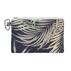Palm Leaves Painting Grey Canvas Cosmetic Bag (large)