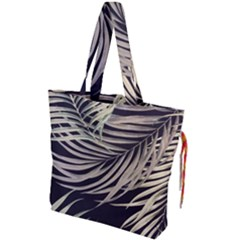Palm Leaves Painting Grey Drawstring Tote Bag by AnjaniArt