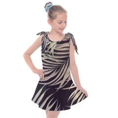 Palm Leaves Painting Grey Kids  Tie Up Tunic Dress