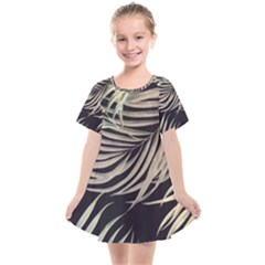Palm Leaves Painting Grey Kids  Smock Dress