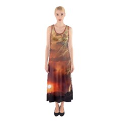 Sunset Lighting Filage Summer Sleeveless Maxi Dress