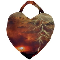 Sunset Lighting Filage Summer Giant Heart Shaped Tote by AnjaniArt