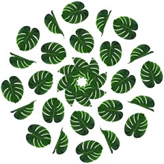 Tropical Imitation Green Leaves Hawaiian Green Hook Handle Umbrellas (small) by AnjaniArt