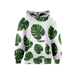 Tropical Imitation Green Leaves Hawaiian Green Kids  Pullover Hoodie