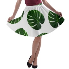 Tropical Imitation Green Leaves Hawaiian Green A Line Skater Skirt