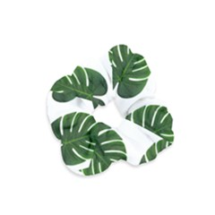 Tropical Imitation Green Leaves Hawaiian Green Velvet Scrunchie by AnjaniArt