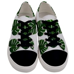 Tropical Imitation Green Leaves Hawaiian Green Men s Low Top Canvas Sneakers