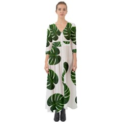 Tropical Imitation Green Leaves Hawaiian Green Button Up Boho Maxi Dress by AnjaniArt