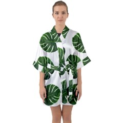 Tropical Imitation Green Leaves Hawaiian Green Quarter Sleeve Kimono Robe by AnjaniArt