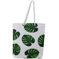 Tropical Imitation Green Leaves Hawaiian Green Full Print Rope Handle Tote (large) by AnjaniArt