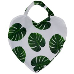 Tropical Imitation Green Leaves Hawaiian Green Giant Heart Shaped Tote by AnjaniArt