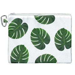 Tropical Imitation Green Leaves Hawaiian Green Canvas Cosmetic Bag (xxl) by AnjaniArt