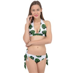 Tropical Imitation Green Leaves Hawaiian Green Tie It Up Bikini Set