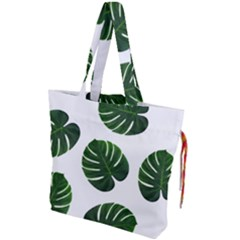 Tropical Imitation Green Leaves Hawaiian Green Drawstring Tote Bag by AnjaniArt