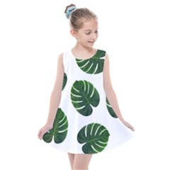 Tropical Imitation Green Leaves Hawaiian Green Kids  Summer Dress