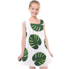 Tropical Imitation Green Leaves Hawaiian Green Kids  Cross Back Dress